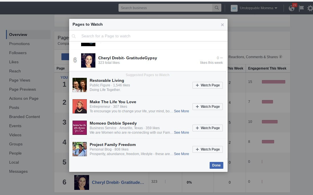 Add pages to watch on your Facebook page.